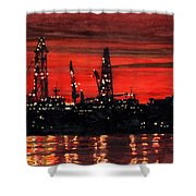 Oil Rigs Night Construction Portland Harbor Shower Curtain by Dominic White