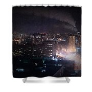 Oil Style City At Night Image Shower Curtain