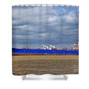 Oil Tanker Ship At Dock Shower Curtain