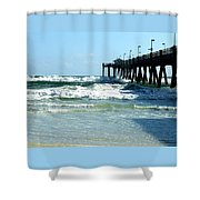 Okaloosa Pier Breaking Shower Curtain