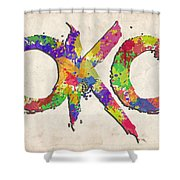 Okc Typography Watercolor Shower Curtain