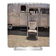 Old 1930 Silver Camping Trailer Shower Curtain by Edward Fielding