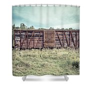 Old Abandoned Box Cars Central Vermont Shower Curtain