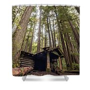 Old Abandoned Cabin In The Woods Shower Curtain