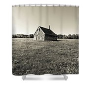Old Abandoned Farm Building Shower Curtain