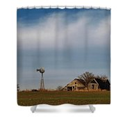 Old Abandoned Farmstead In Kansas Shower Curtain