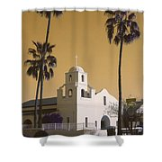 Old Adobe Mission Poster Shower Curtain