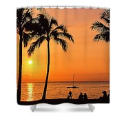 Old Airport Beach Sunset Shower Curtain