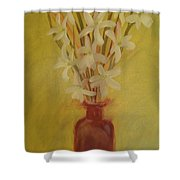 Old Amber Bottle With New Purpose Shower Curtain