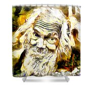 Old And Happy Man Shower Curtain