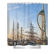 Old And New At Gunwharf Quays Shower Curtain
