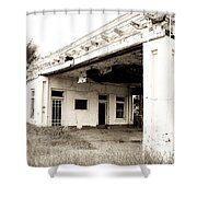 Old Art Deco Filling Station Shower Curtain