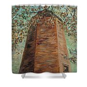 Old Baldy Light House In Teal Shower Curtain