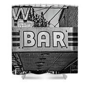 Old Bar Sign Livingston Montana Black And White Shower Curtain