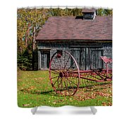 Old Barn And Rusty Farm Implement 02 Shower Curtain