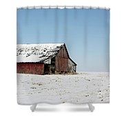 Old Barn And Snowy Prairie Shower Curtain