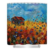 Old Barn And Wild Flowers Shower Curtain