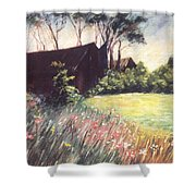 Old Barn And Wildflowers Shower Curtain