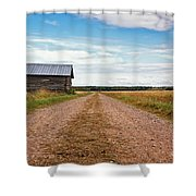 Old Barn By The Gravel Road Shower Curtain