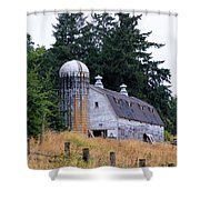 Old Barn In Field Shower Curtain by Athena Mckinzie