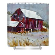 Old Barn In Snow Shower Curtain