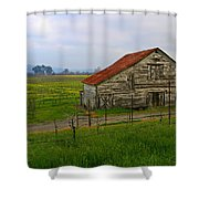 Old Barn In The Mustard Fields Shower Curtain