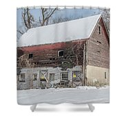Old Barn In Upper Roxborough In The Snow Shower Curtain