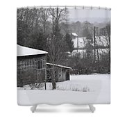 Old Barn In Winter Scenery Shower Curtain