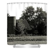 Old Barn Outbuildings And Silo  Shower Curtain