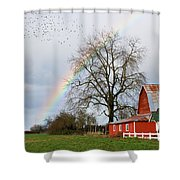 Old Barn Rainbow Shower Curtain
