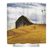 Old Barn With Windmill Shower Curtain