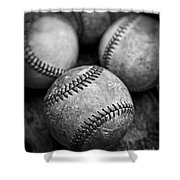 Old Baseballs In Black And White Shower Curtain by Edward Fielding