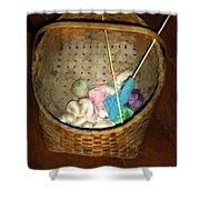 Old Basket New Yarn Shower Curtain