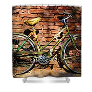 Old Bike And Bricks Shower Curtain