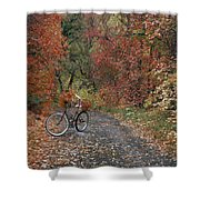 Old Bike In Autumn Shower Curtain