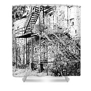 Old Black And White House  Shower Curtain