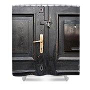 Old Black Closed Door Shower Curtain