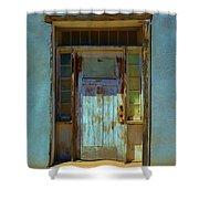 Old Blue Door  Shower Curtain
