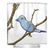 Old Bluebird Ornament Shower Curtain
