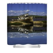 Old Boat Reflection Shower Curtain