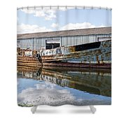 Old Boats Along The Exeter Canal Shower Curtain