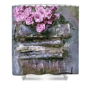 Old Books And Pink Roses Shower Curtain