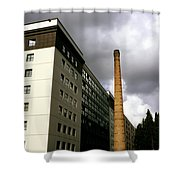 Old Brick Chimney Amongst Modern Office Buildings Near The Railway Station Perugia Umbria Italy Shower Curtain