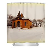 Old Brick Schoolhouse In Winter Shower Curtain