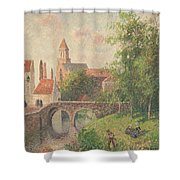Old Bridge In Bruges  Shower Curtain by Camille Pissarro
