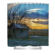 Old Building At Sunset Shower Curtain