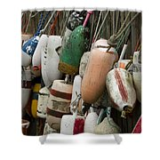 Old Buoys Hanging Out Shower Curtain