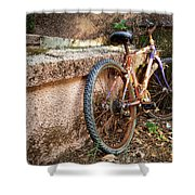 Old Bycicle Shower Curtain by Carlos Caetano