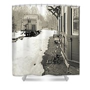 Old Caboose At Period Train Depot Winter Shower Curtain