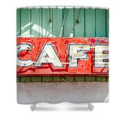 Old Cafe Sign Shower Curtain